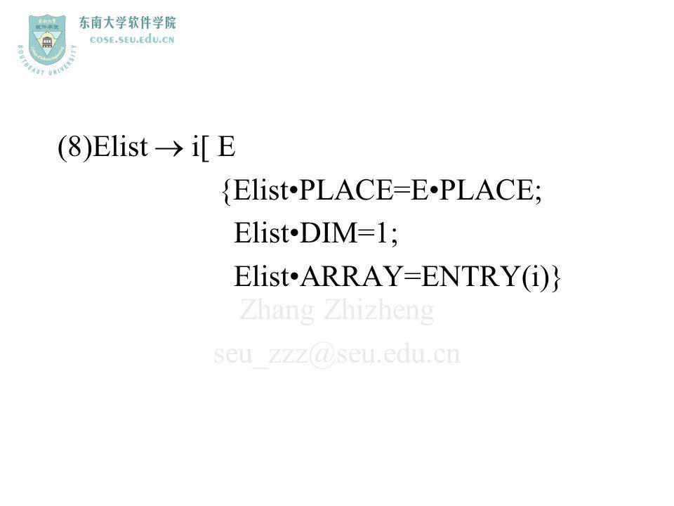 (8)Elist  i[ E {Elist•PLACE=E•PLACE; Elist•DIM=1; Elist•ARRAY=ENTRY(i)}
